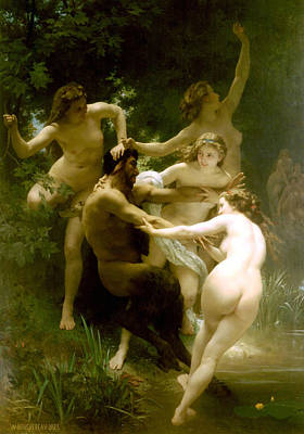 Nymphs And Satyr Poster by William Bouguereau