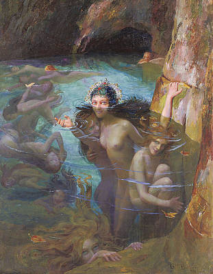 Nymphs At A Grotto Poster by Gaston Bussiere