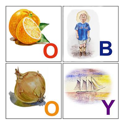 O Boy Art Alphabet For Kids Room Poster by Irina Sztukowski