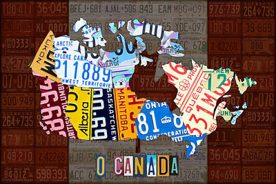O Canada Recycled License Plate Map Of Canada National Anthem On Canadian Flag Art Poster by Design Turnpike