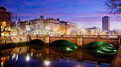 Poster featuring the photograph O Connell Bridge At Night - Dublin by Barry O Carroll