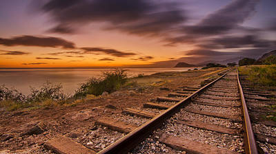 Oahu Rail Road Track Sunset Poster
