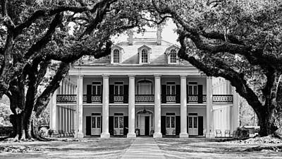Oak Alley Mansion Black And White Poster