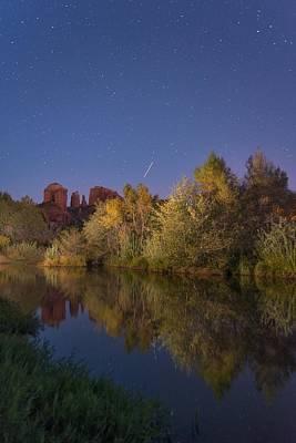 Oak Creek At Night Poster by Christian Heeb