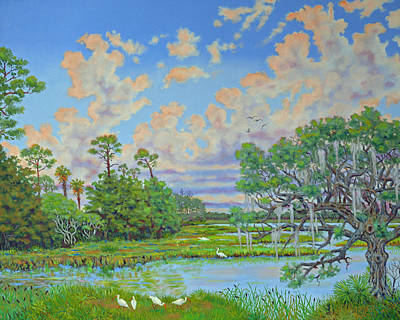 Poster featuring the painting Oak Tree At Botany Bay Plantation by Dwain Ray