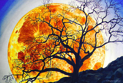 Oak Tree Moonrise Poster