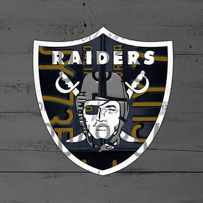 Oakland Raiders Football Team Retro Logo California License Plate Art Poster