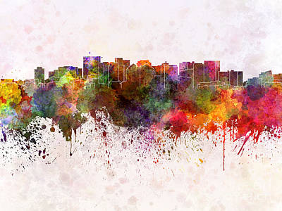 Oakland Skyline In Watercolor Background Poster by Pablo Romero