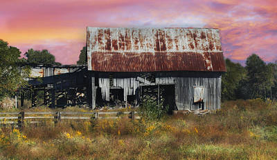 Oakwood Barn At Sunrise Poster