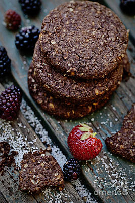 Oatmeal Chocolate Cookies With Fruit Poster by Mythja  Photography