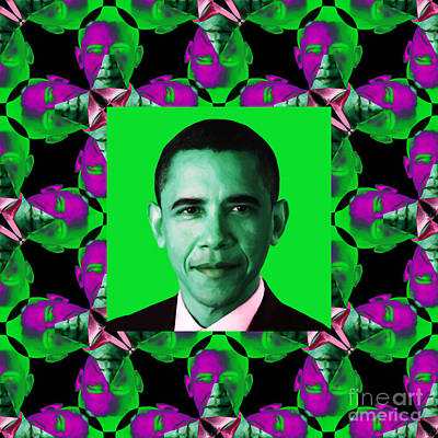 Obama Abstract Window 20130202p128 Poster by Wingsdomain Art and Photography