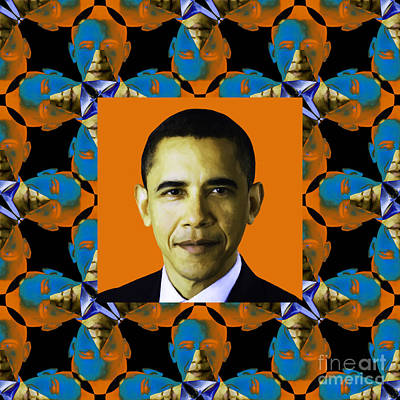 Obama Abstract Window 20130202p28 Poster by Wingsdomain Art and Photography