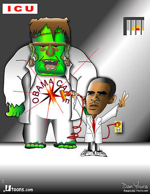 Obama Care Frankenstein Monster In Icu Poster by Dan Youra