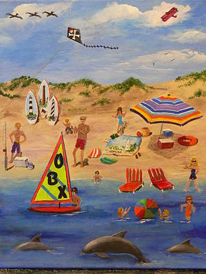 Poster featuring the painting Obx Beach by Catherine Hamill