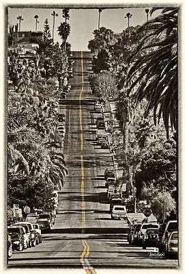Ocean Beach Asphalt Surfin - Santa Cruz Ave Poster by Russ Harris