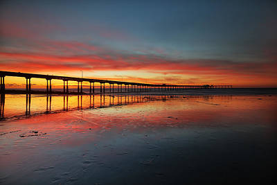Ocean Beach California Pier 3 Poster by Larry Marshall