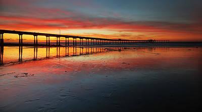 Ocean Beach California Pier 3 Panorama Poster by Larry Marshall