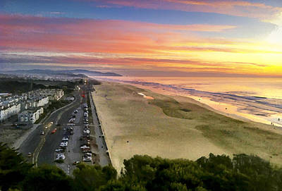 Ocean Beach Sunset From Sutro Heights Poster