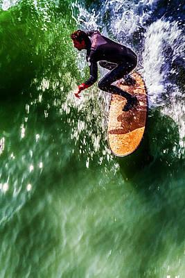 Ocean Beach Surfer Poster by John Haldane