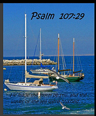 Ocean Birds -  Calm Sea - Psalm 107-29 Poster by Joseph Coulombe