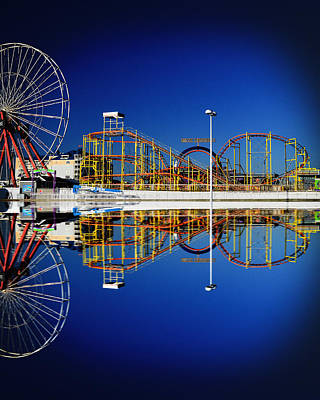 Ocean City Amusement Pier Reflections Poster