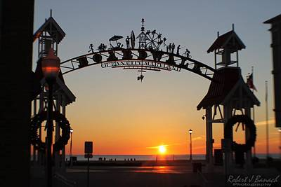 Ocean City Boardwalk Arch New Year Sunrise Poster