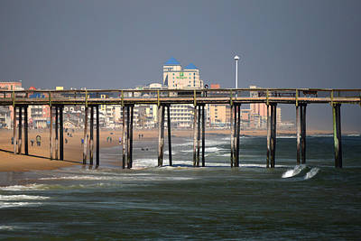 Poster featuring the photograph Ocean City Fishing Pier In January by Bill Swartwout