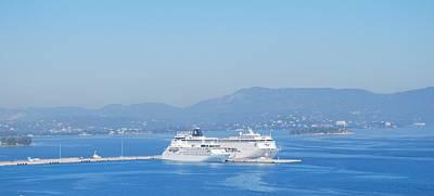 Ocean Liners In Corfu Poster by George Katechis