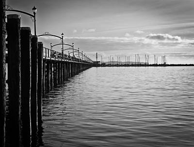 Ocean Pier In Black And White Poster