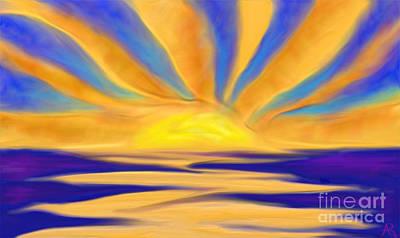 Ocean Sunrise Poster by Anita Lewis