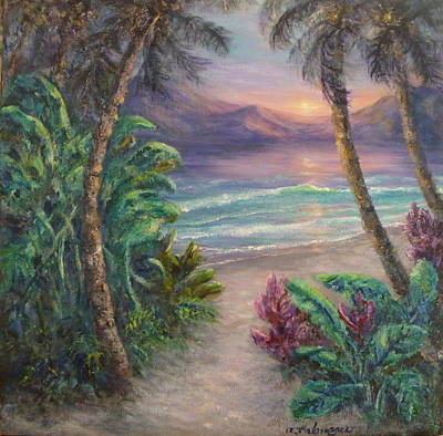 Ocean Sunrise Painting With Tropical Palm Trees  Poster