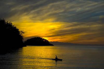 Ocean Sunset At Rosario Strait Poster by Yulia Kazansky