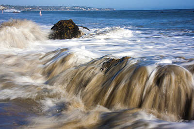 Ocean Waves Breaking Over The Rocks Photography Poster
