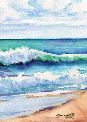 Ocean Waves Of Kauai I Poster by Marionette Taboniar