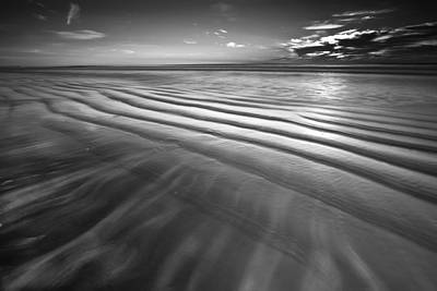 Ocean Waves Seascape Beach Sunrise Photograph In Black And White Poster