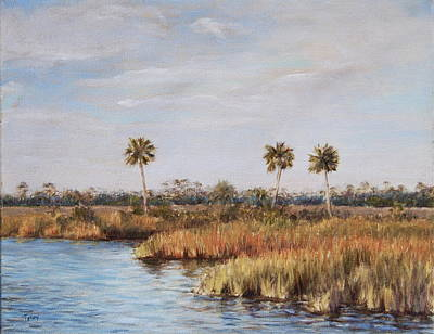 Poster featuring the painting Ochlockonee River Palms by Pam Talley