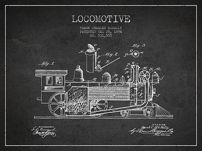 Locomotive Patent Drawing From 1894 Poster by Aged Pixel