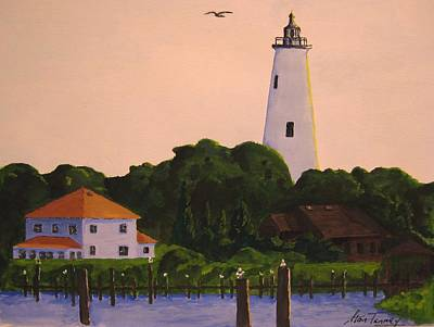 Poster featuring the painting Ocracoke Lighthouse by Stan Tenney