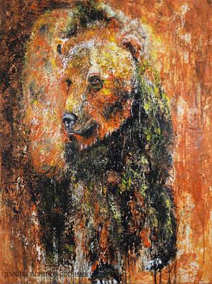 Abstract Bear Painting October Bear Poster