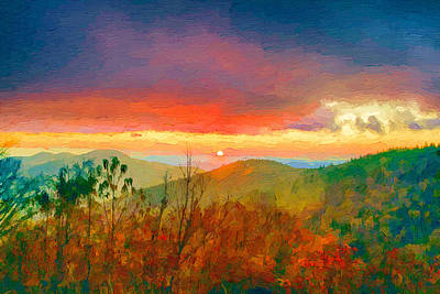 October Sunrise Painting On The Blue Ridge Parkway Poster