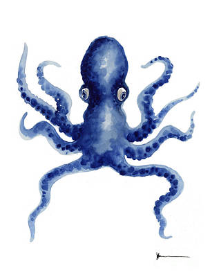 Octopus Watercolor Art Print Paniting Poster