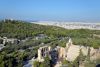 Odeon Of Herodes Atticus And Hill Of Philopappos Poster by George Atsametakis