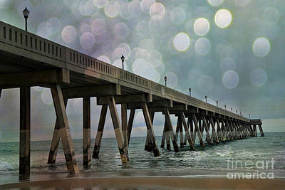 Wrightsville Beach Ocean Fishing Pier - Beach Ocean Coastal Fishing Pier  Poster by Kathy Fornal