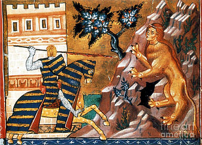 Oedipus Battles The Sphinx Poster by Photo Researchers