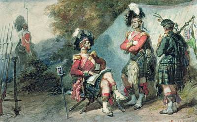Officers Of The 79th Highlanders At Chobham Camp In 1853 Poster by Eugene-Louis Lami