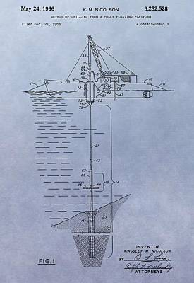 Offshore Oil Platform Patent Poster by Dan Sproul