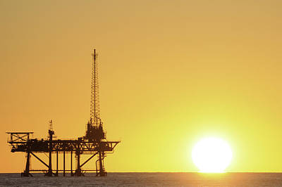 Offshore Oil Rig And Sun Poster