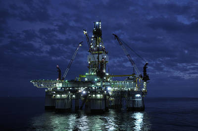 Offshore Oil Rig At Night Poster