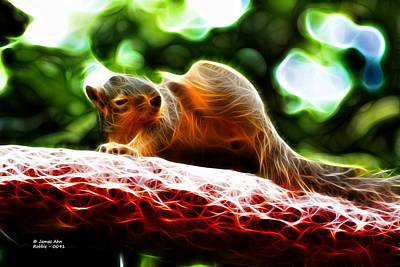 Poster featuring the digital art Oh Buggers I Itch - Fractal - Robbie The Squirrel by James Ahn