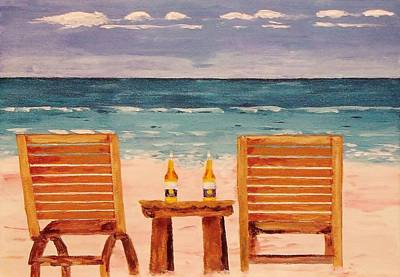 Two Corona's And A Beach Poster by Mike Caitham